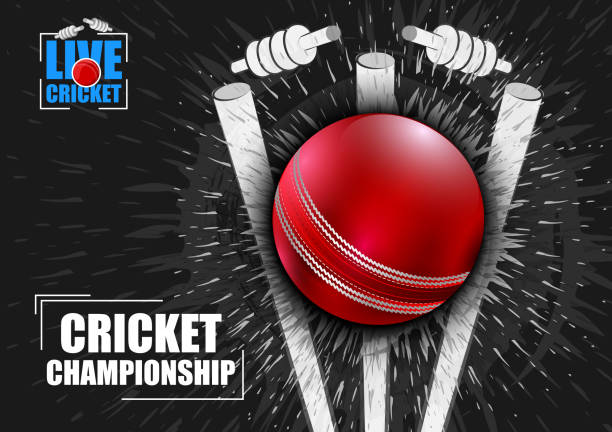 sportlichen hintergrund für das spiel der cricket-meisterschaft-turnier - cricket stock-grafiken, -clipart, -cartoons und -symbole
