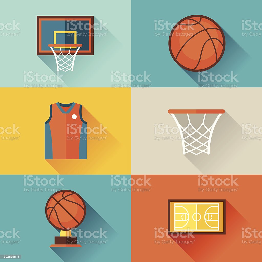 Sports background with basketball icons in flat style. vector art illustration