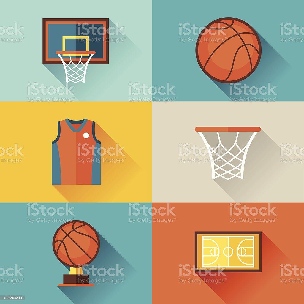 Sports Hintergrund mit basketball-icons in flachen Stil. – Vektorgrafik