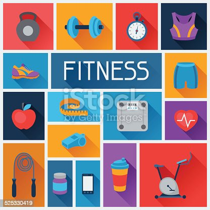 istock Sports background with fitness icons in flat style. 525330419