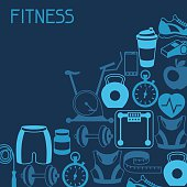 istock Sports background with fitness icons in flat style. 525689305
