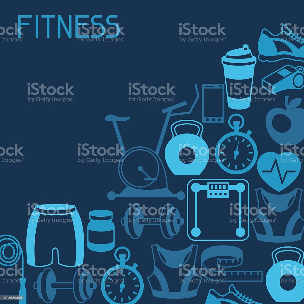 Sports background with fitness icons in flat style. vector art illustration