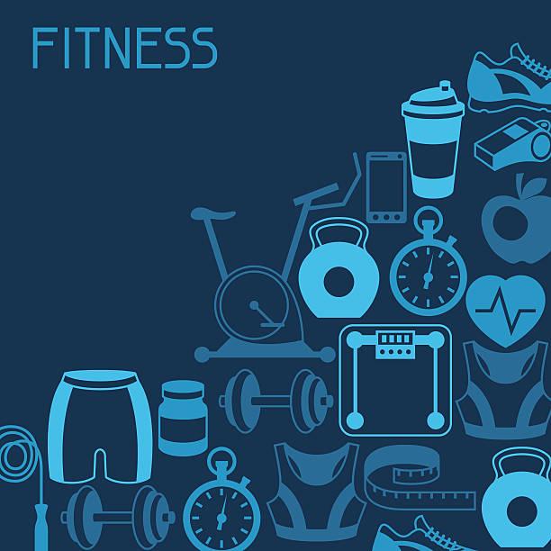 bildbanksillustrationer, clip art samt tecknat material och ikoner med sports background with fitness icons in flat style. - paper mass