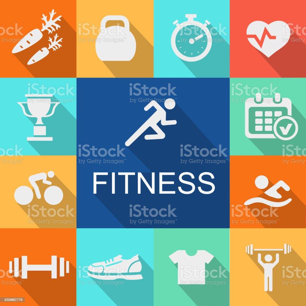 Fondo con los iconos de estilo plano en el gimnasio. - ilustración de arte vectorial