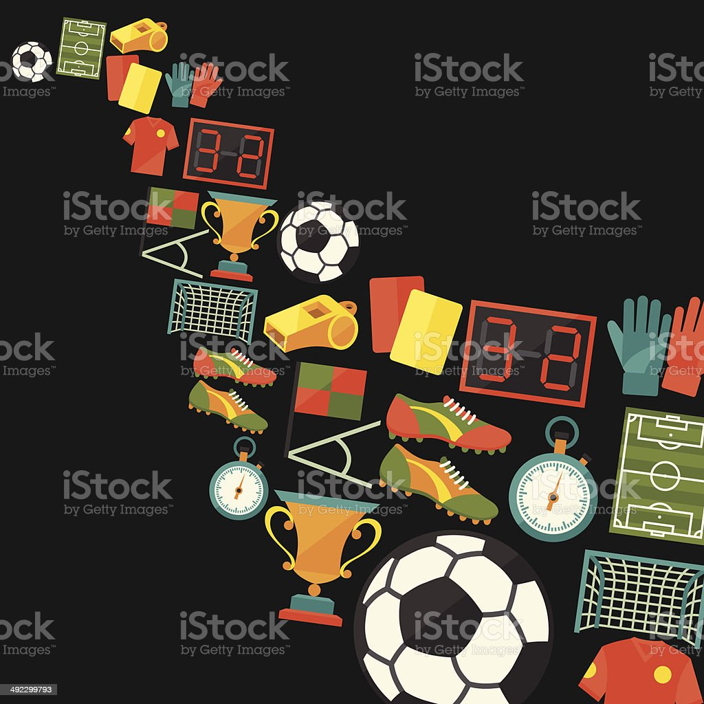 Sports background with soccer (football) flat icons. royalty-free stock vector art