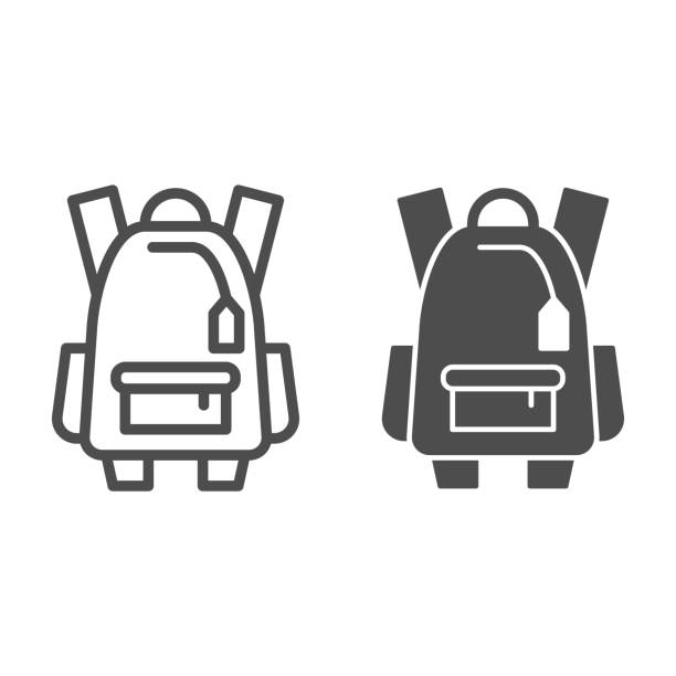 Sports backpack line and solid icon, tourism concept, Schoolbag sign on white background, backpack icon in outline style for mobile concept and web design. Vector graphics. Sports backpack line and solid icon, tourism concept, Schoolbag sign on white background, backpack icon in outline style for mobile concept and web design. Vector graphics adventure clipart stock illustrations