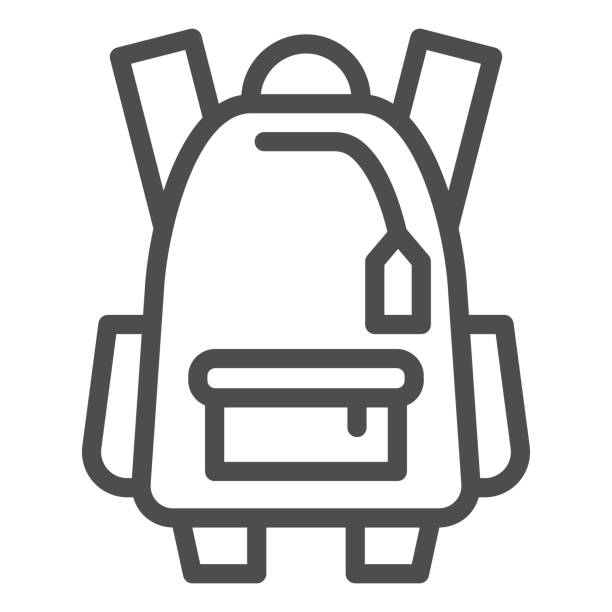 Sports backpack line icon, tourism concept, Schoolbag sign on white background, backpack icon in outline style for mobile concept and web design. Vector graphics. Sports backpack line icon, tourism concept, Schoolbag sign on white background, backpack icon in outline style for mobile concept and web design. Vector graphics adventure clipart stock illustrations