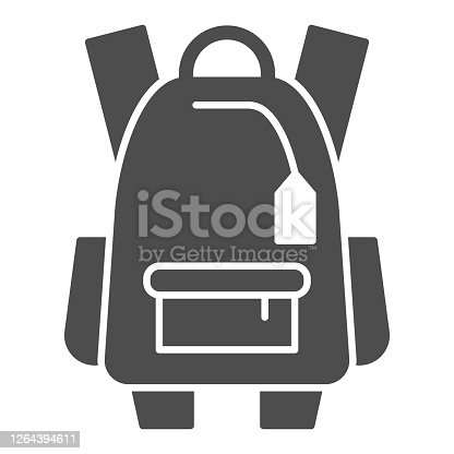 istock Sports backpack solid icon, tourism concept, Schoolbag sign on white background, backpack icon in glyph style for mobile concept and web design. Vector graphics. 1264394611