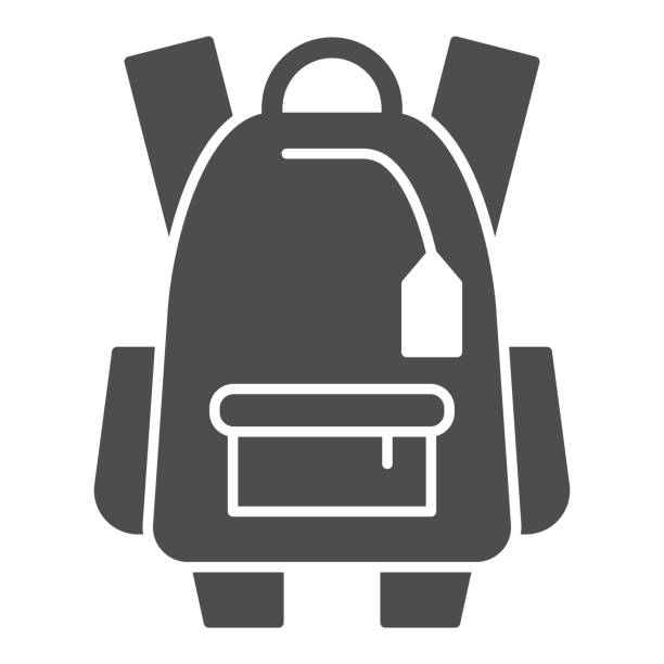 Sports backpack solid icon, tourism concept, Schoolbag sign on white background, backpack icon in glyph style for mobile concept and web design. Vector graphics. Sports backpack solid icon, tourism concept, Schoolbag sign on white background, backpack icon in glyph style for mobile concept and web design. Vector graphics adventure clipart stock illustrations
