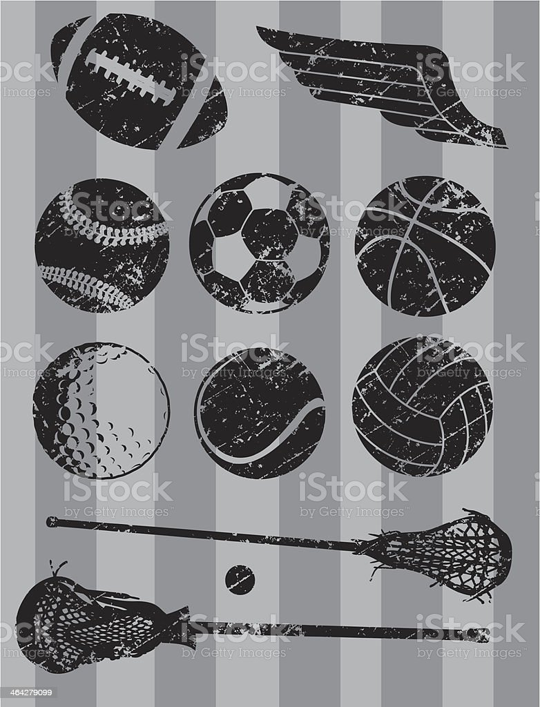 Sports ball, football, baseball, golf, lacrosse, basketball. Grunge...