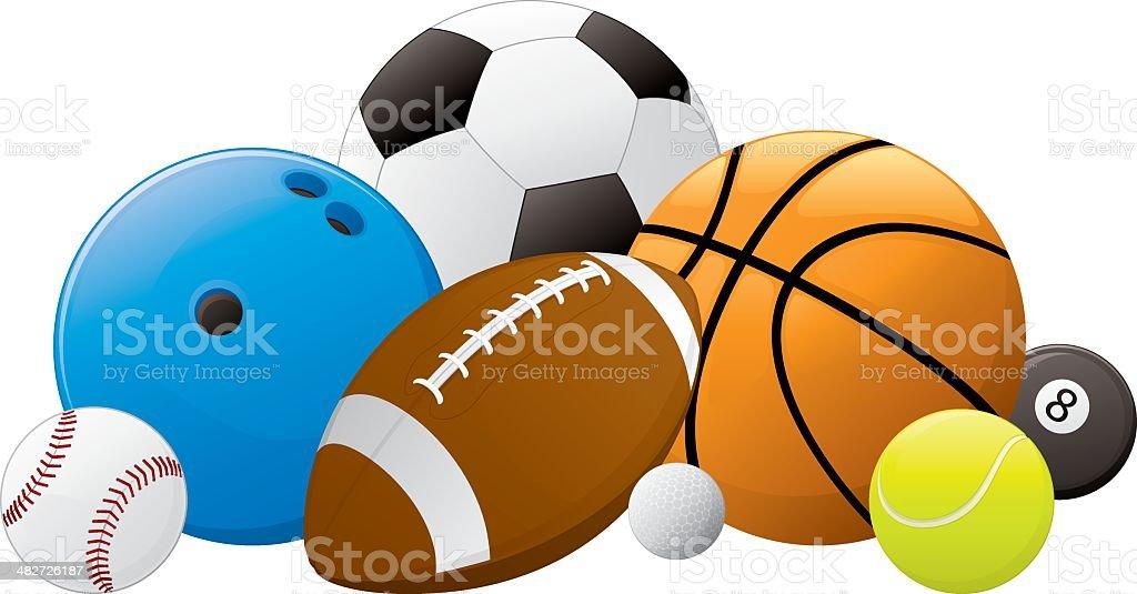 Sports Ball Pile vector art illustration