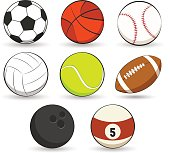 Sports balls collection on white background