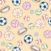 Sports Balls Doodle Surface Pattern. Isolated Illustration Vector on Background.