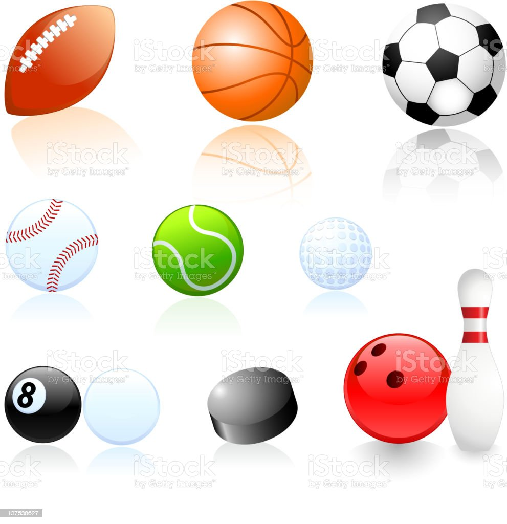 Sports balls illustrations set royalty-free stock vector art