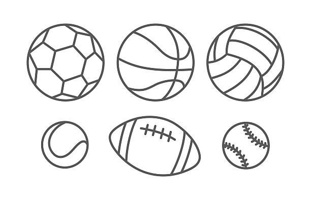 Sports balls in linear style vector art illustration