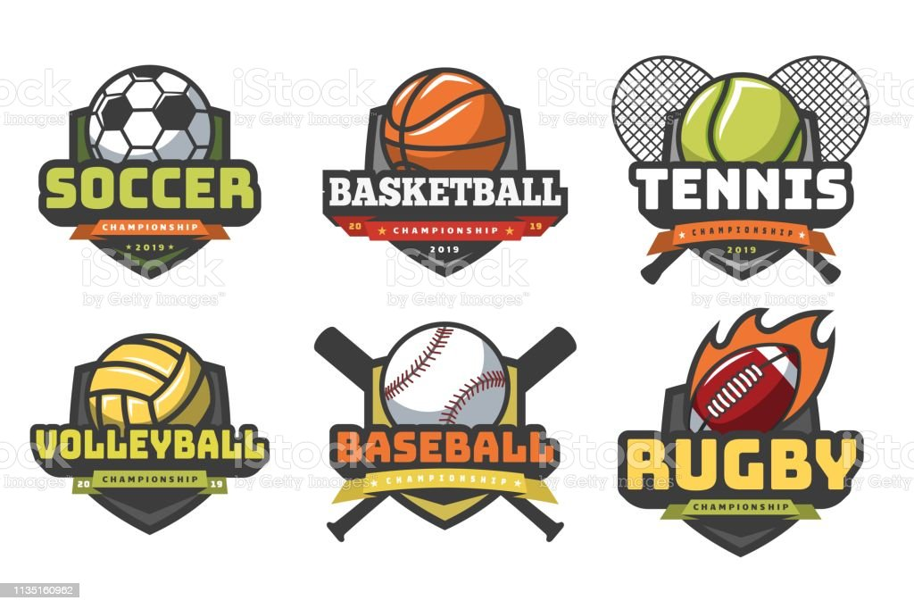 Sports Balls Logos Sport Logo Ball Soccer Basketball Volleyball Football Rugby Tennis Baseball Badge Team Club Emblems Stock Illustration Download Image Now Istock