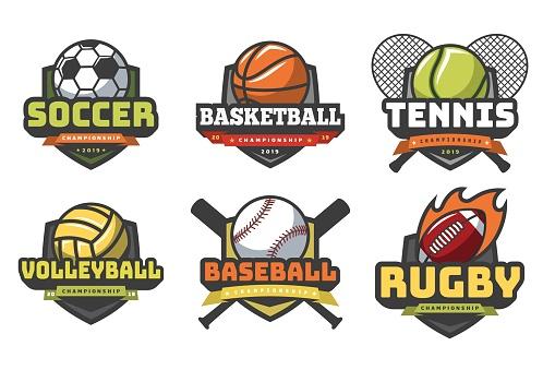Sports balls logos. Sport logo ball soccer basketball volleyball football rugby tennis baseball badge team club emblems