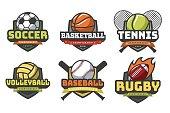 Sports balls logos. Sport logo ball soccer basketball volleyball football rugby tennis baseball badge team club game emblem vector set