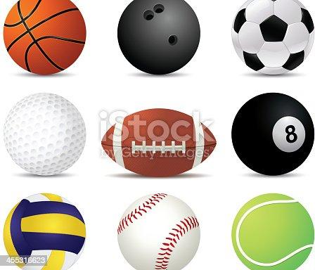 Sports balls of nine different sports