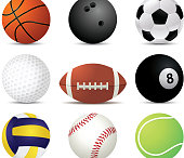illustration with nine different sport balls
