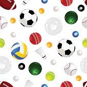 Sports Balls Seamless Background
