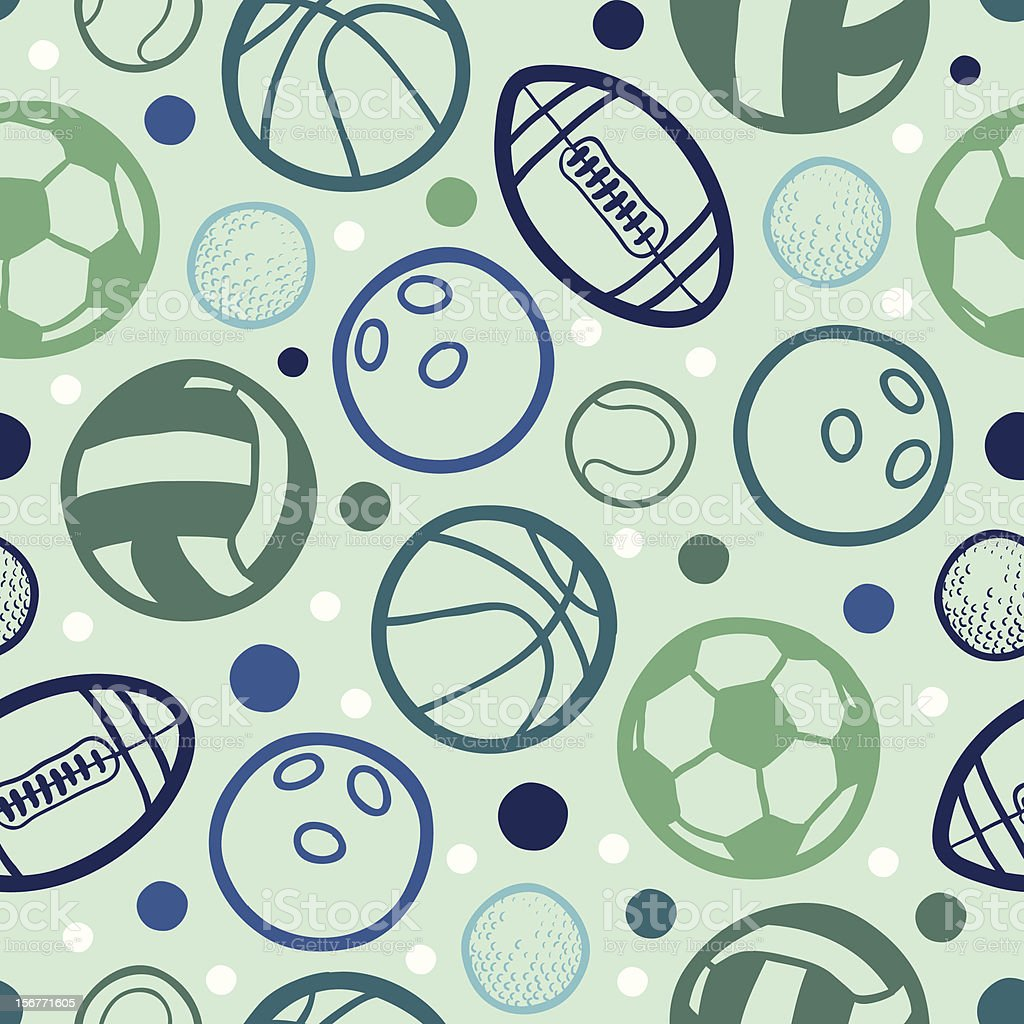 Sports Balls Seamless Pattern Background Royalty Free Stock Vector Art