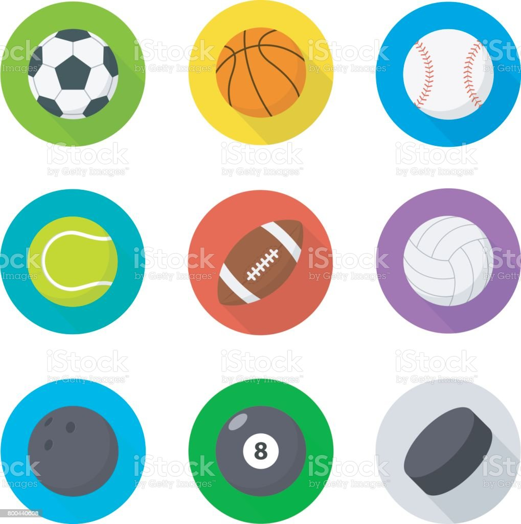 Sports Balls Set Flat Cartoon Balls Stock Illustration Download Image Now Istock