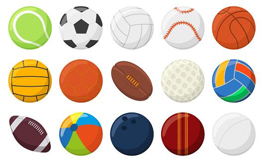 Sports balls. Soccer, baseball, tennis, bowling and basketball balls, sports games balls vector illustration set. Round sports equipment