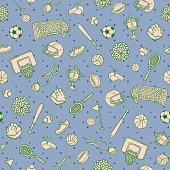 Sports Balls Things Doodle Surface Pattern. Isolated Vector Background.