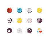 Sports balls flat icons: basketball, bowling, volley ball, soccer ball, football etc.