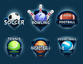 Sports balls vector labels and sport team emblems