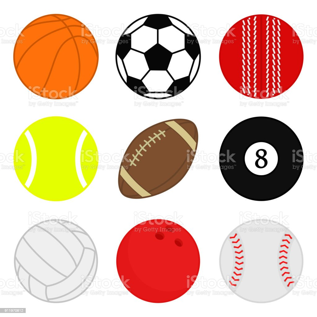Sports Balls Vector Set Cartoon Ball Icons Collection Of Colorful Balls Flat Style Stock Illustration Download Image Now Istock