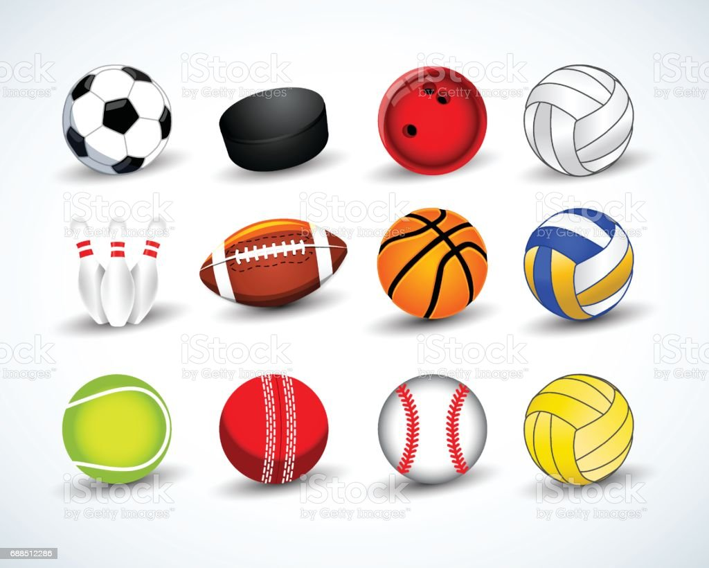 Color Sport Background Football Basketball Hockey Stock: Sports Balls Vector Set Hockey Baseball Cricket Basketball
