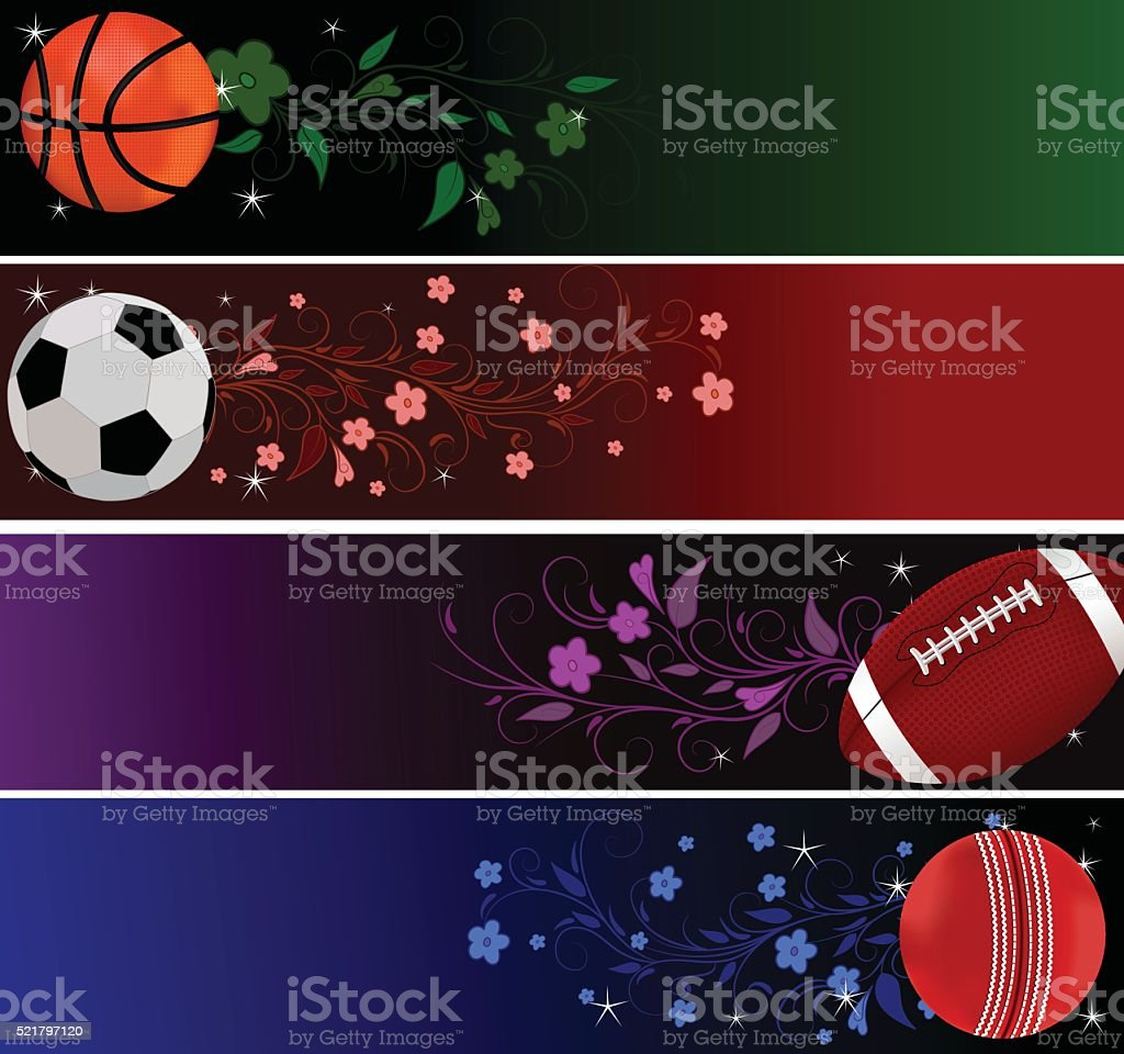 Sports Banners is basketball,soccer ball ,American football,cricket...