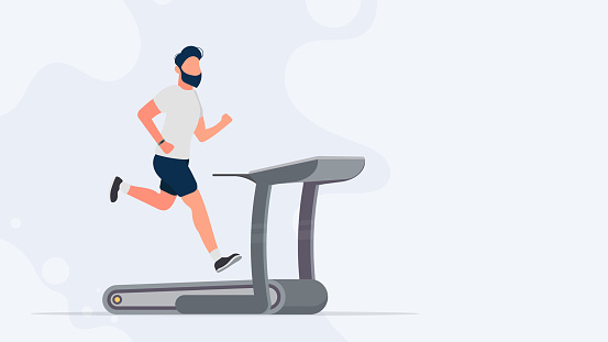Sports banner with place for text. The guy on the treadmill. A man in shorts and a T-shirt runs on a simulator. Vector.