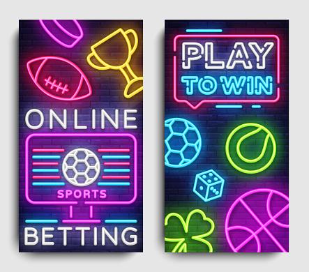 Sports betting vertical banner vector design template. Neon Signs, Light Banner, Bright Night Neon Advertising Bets, Gambling, Casinos. Vector illustration