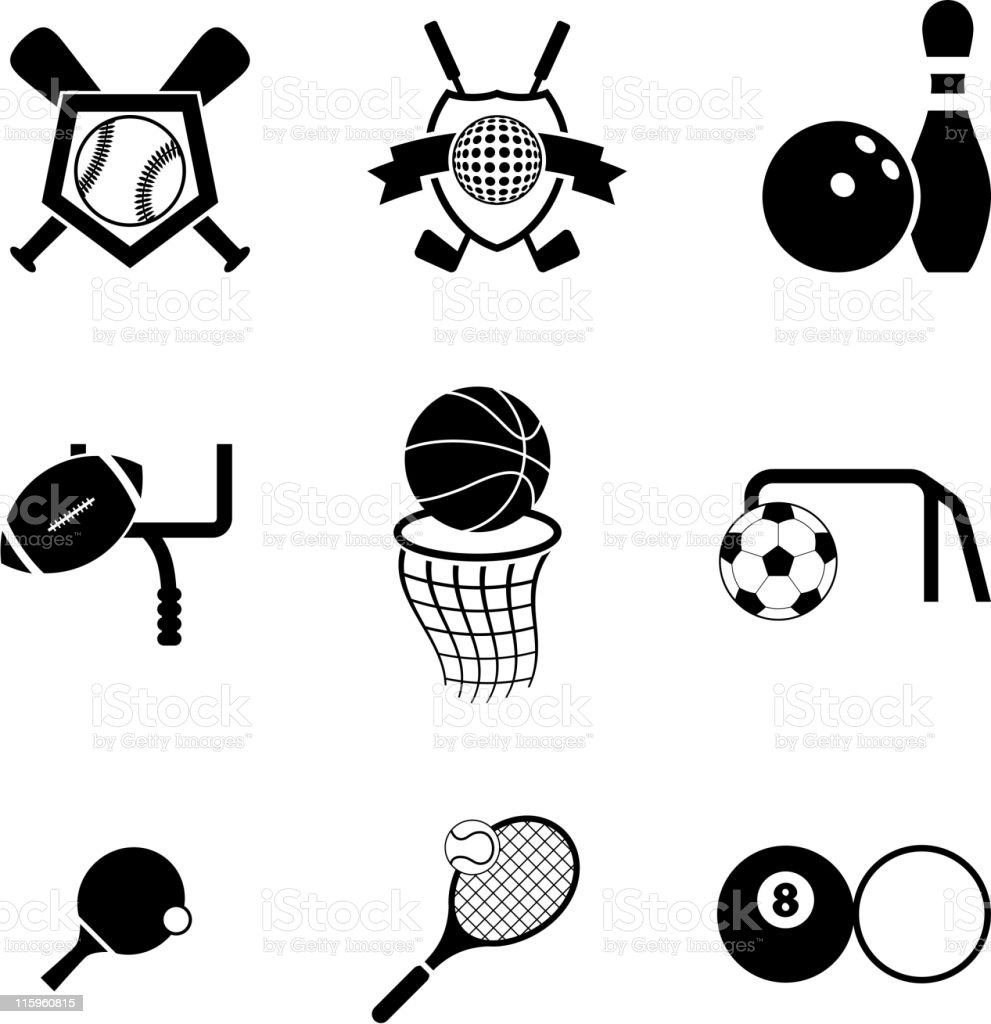 sports black and white royalty free vector icon set vector art illustration