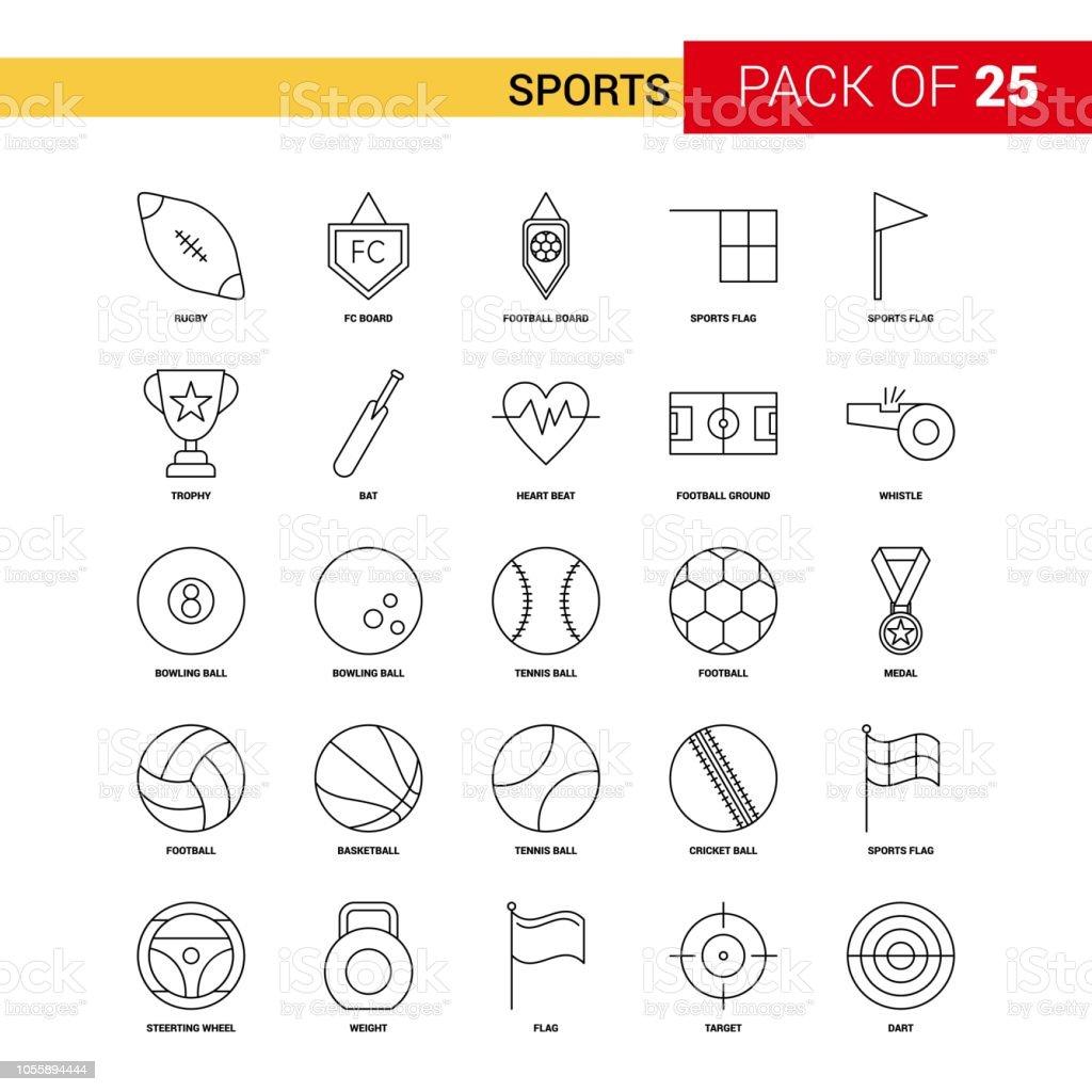 Sports Black Line Icon - 25 Business Outline Icon Set