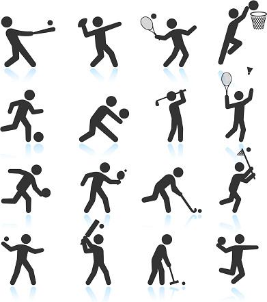 Sports black & white royalty free vector icon set