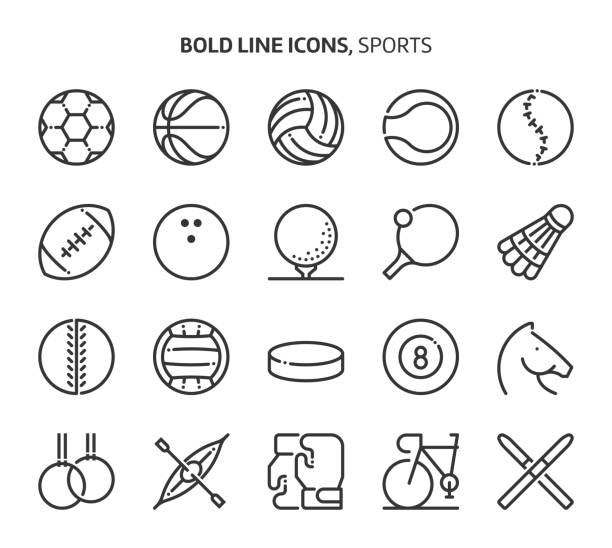 stockillustraties, clipart, cartoons en iconen met sport, vette lijn pictogrammen - bal