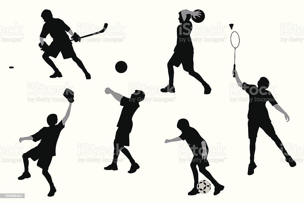 Sports Boy Vector Silhouette royalty-free sports boy vector silhouette stock vector art & more images of badminton - sport