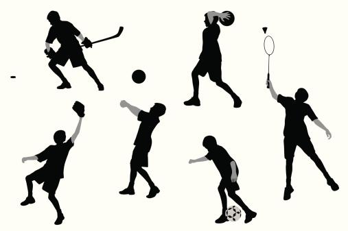 Sports Boy Vector Silhouette