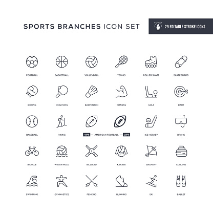 Sports Branches Editable Stroke Line Icons