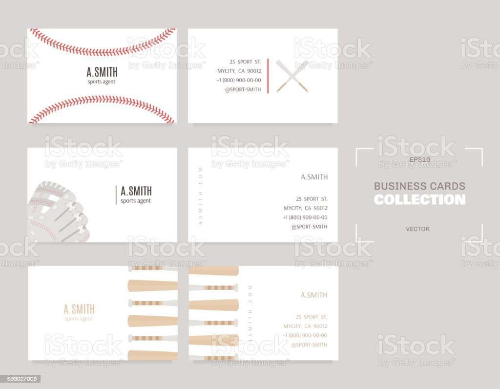 Sports business cards. A good idea for sports agents, coaches and players. vector art illustration