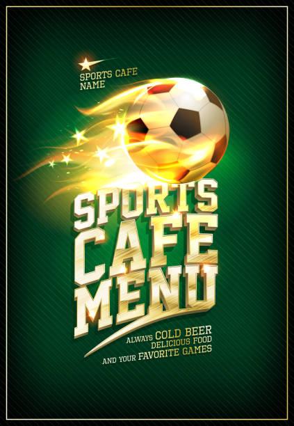 bildbanksillustrationer, clip art samt tecknat material och ikoner med sports café menyn kort koncept med fotboll - fotboll eld