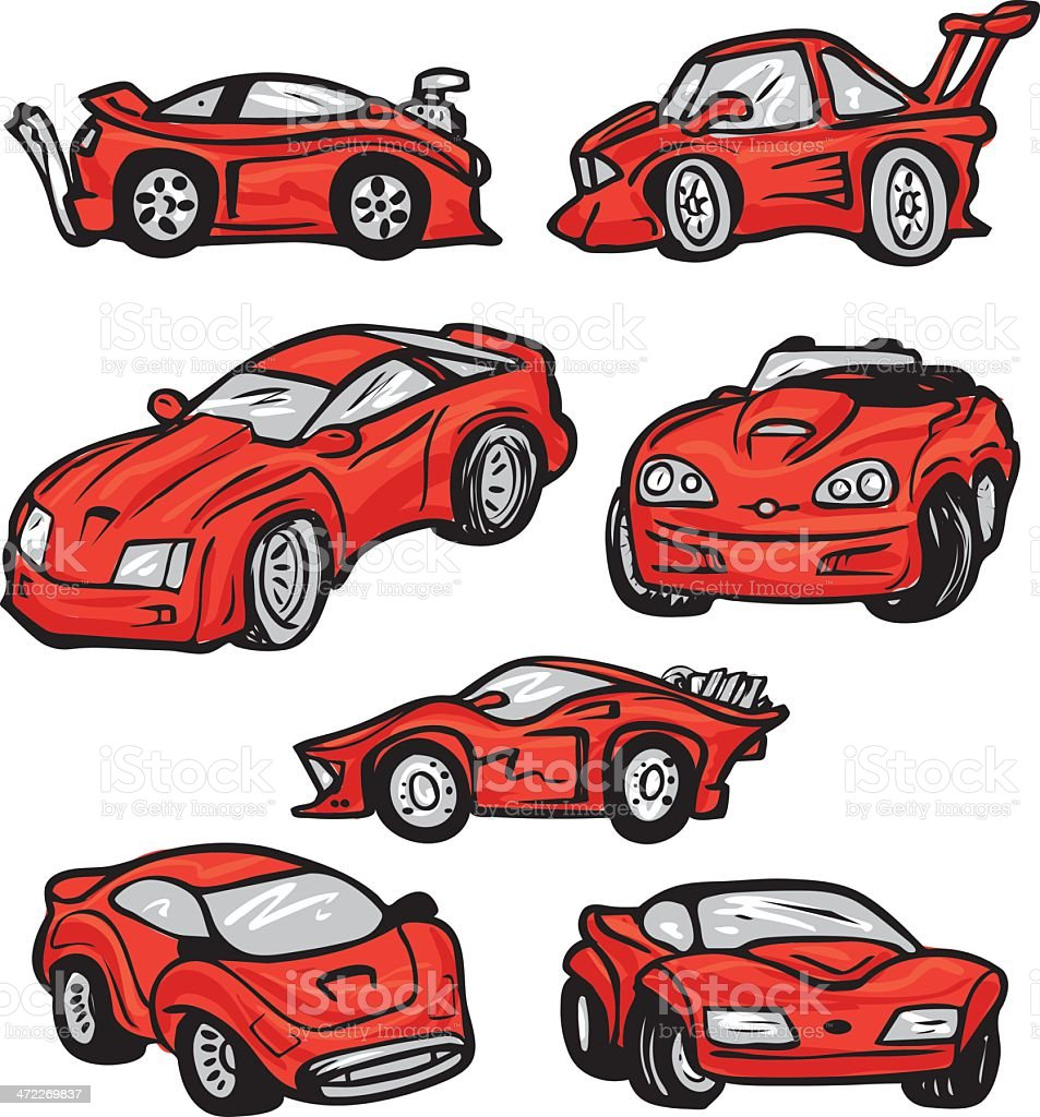 Sports Car Bonus Pack - Red Vectors royalty-free stock vector art