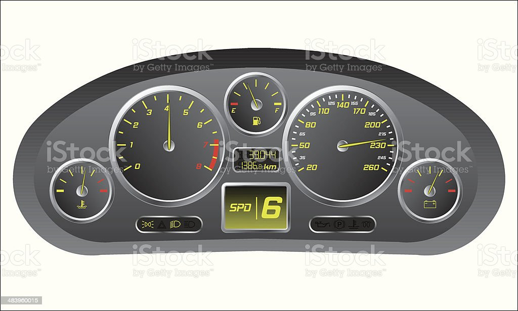 Sports car dashboard vector art illustration