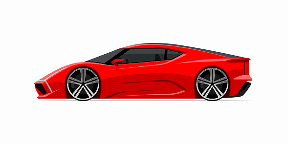 Sports car icon in flat style. Side view of the supercar isolated on white background.