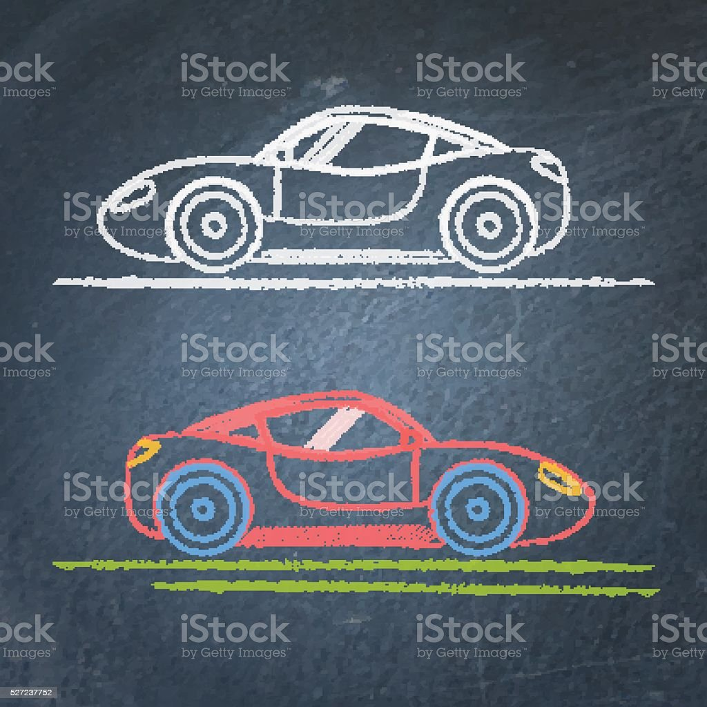 Sport Auto Skizze Auf Tafel Stock Vektor Art und mehr Bilder von ...