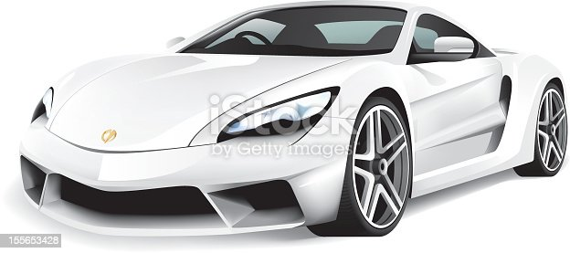A generic white shiny sports car illustrated in vector format. EPS 10 file format, no transparency.